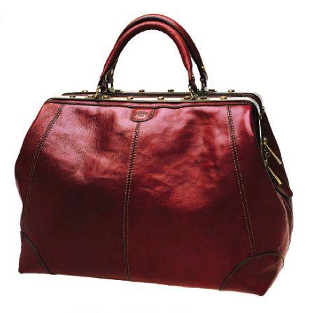 Sac diligence Katana K 1152 Cuir de Vachette collet - Rouge