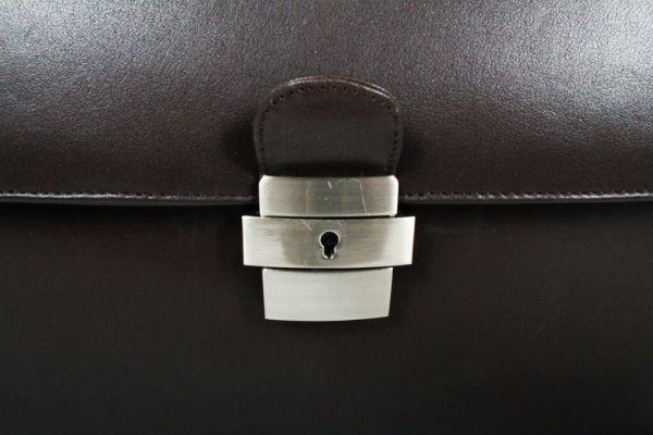 Cartable porte-ordinateur 1 soufflets Gérard Hénon en cuir de vachette lisse souple GH 2630 - Marron - Fermoir