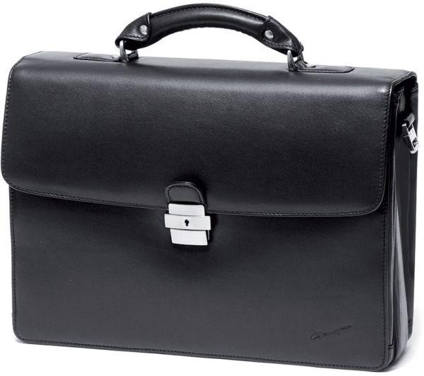 Cartable porte-ordinateur 1 soufflets Gérard Hénon en cuir de vachette lisse souple GH 2630 - Noir