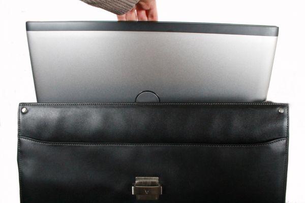 Cartable porte-ordinateur 1 soufflet Gérard Hénon en cuir de vachette lisse souple GH 2631 - Noir - Avec ordinateur