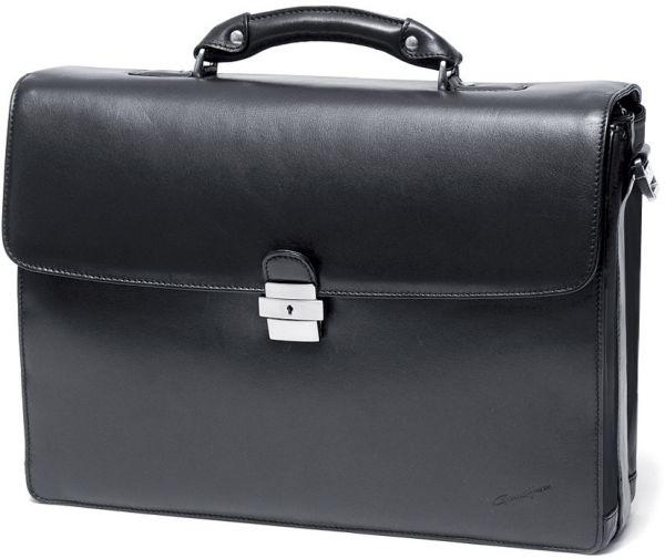 Cartable porte-ordinateur 1 soufflet Gérard Hénon en cuir de vachette lisse souple GH 2631 - Noir