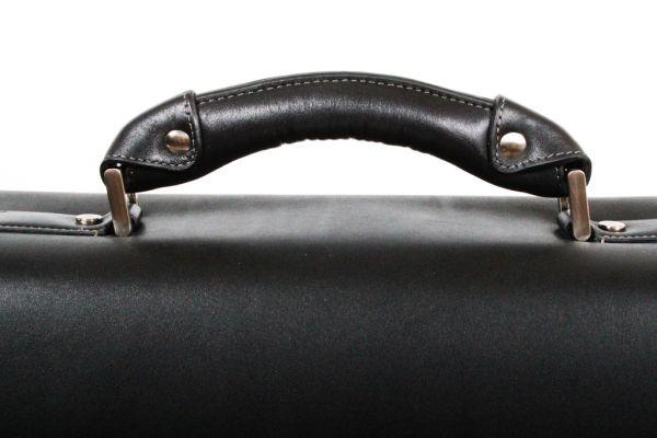 Cartable porte-ordinateur 1 soufflet Gérard Hénon en cuir de vachette lisse souple GH 2631 - Noir - Poignée