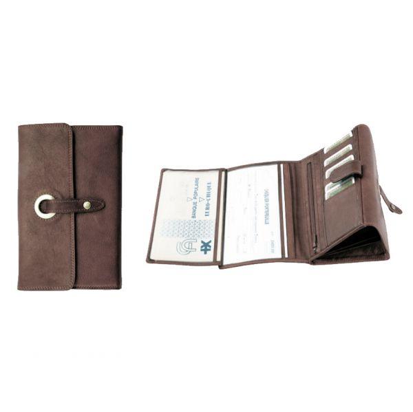 Compagnon / Porte-chéquier Katana K 753115 Cuir de Vachette sauvage - Chocolat