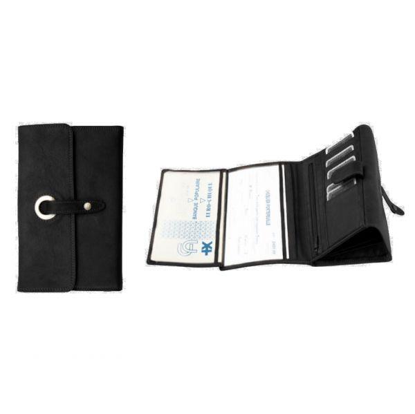 Compagnon / Porte-chéquier Katana K 753115 Cuir de Vachette sauvage - Noir