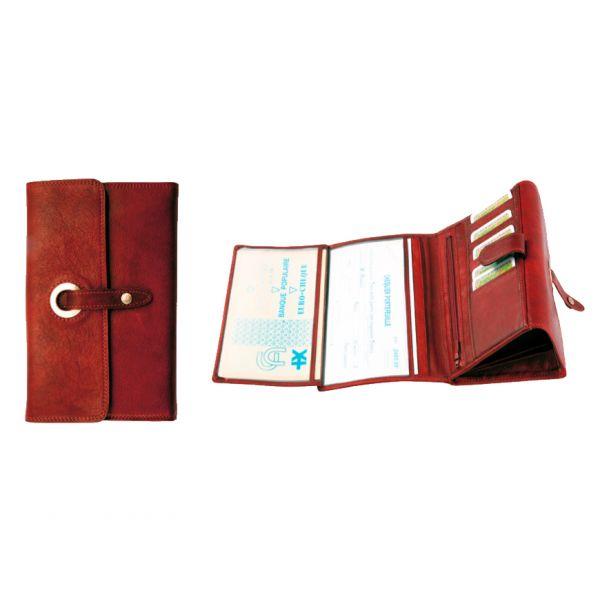 Compagnon / Porte-chéquier Katana K 753115 Cuir de Vachette sauvage - Rouge