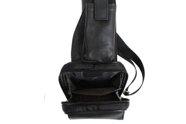Monobretelle Katana Nylon Garni Cuir de Vachette K78218-Noir