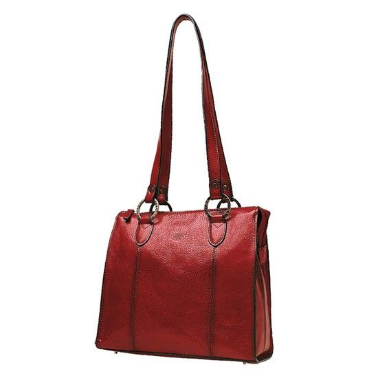Sac shopping en cuir de Vachette collet K 82130 - Rouge