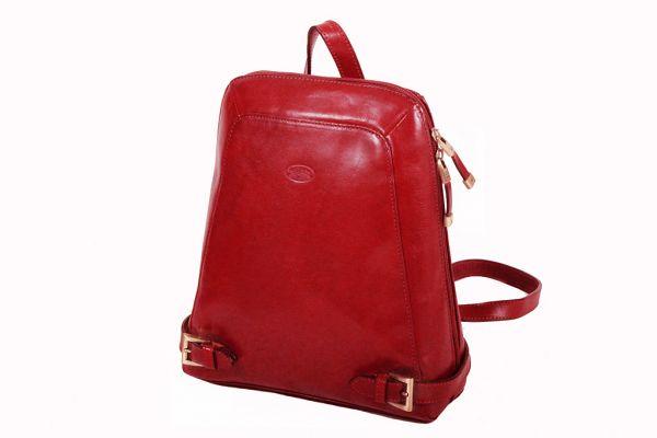 Sac à dos Katana K 82358 Cuir de Vachette collet  - Rouge