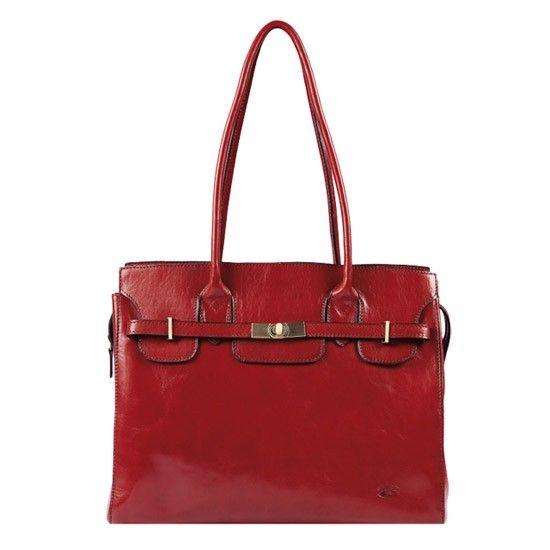 Sac shopping Katana en cuir de Vachette collet K 82529 - Rouge