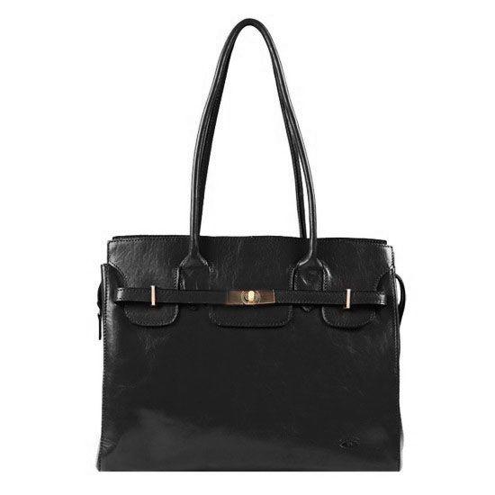 Sac shopping Katana en cuir de Vachette collet K 82529 - Noir